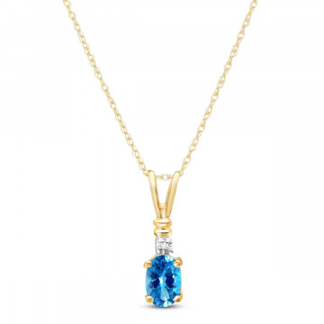 Blue Topaz & Diamond Cap Oval Pendant Necklace in 9ct Gold