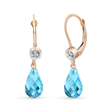 Blue Topaz & Diamond Illusion Drop Earrings in 9ct Rose Gold