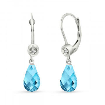 Blue Topaz & Diamond Illusion Drop Earrings in 9ct White Gold