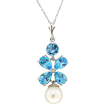 Blue Topaz & Pearl Blossom Pendant Necklace in 9ct White Gold
