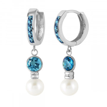 Blue Topaz & Pearl Huggie Earrings in 9ct White Gold