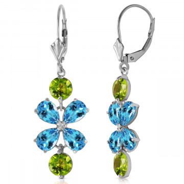 Blue Topaz & Peridot Blossom Drop Earrings in 9ct White Gold