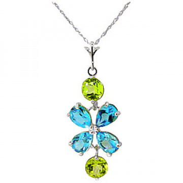 Blue Topaz & Peridot Blossom Pendant Necklace in 9ct White Gold