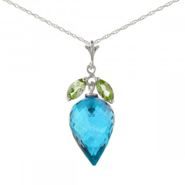 Blue Topaz & Peridot Drop Pendant Necklace in 9ct White Gold