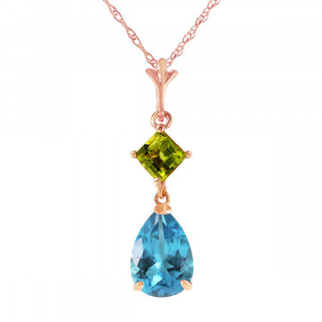 Blue Topaz & Peridot Droplet Pendant Necklace in 9ct Rose Gold