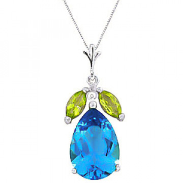 Blue Topaz & Peridot Pear Drop Pendant Necklace in 9ct White Gold