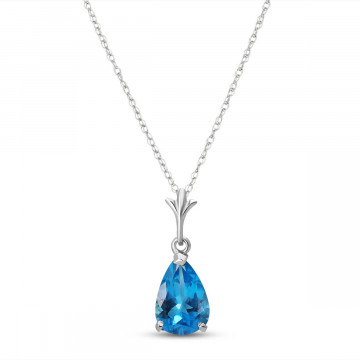 Blue Topaz Belle Pendant Necklace 1.5 ct in 9ct White Gold