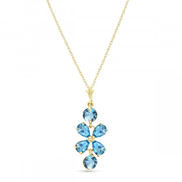 Blue Topaz Blossom Pendant Necklace 3.15 ctw in 9ct Gold