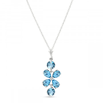 Blue Topaz Blossom Pendant Necklace 3.15 ctw in 9ct White Gold