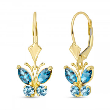 Blue Topaz Butterfly Drop Earrings 1.24 ctw in 9ct Gold