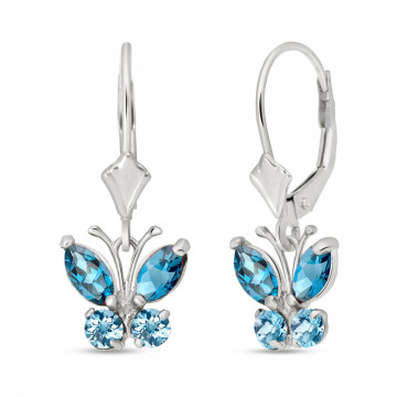 Blue Topaz Butterfly Drop Earrings 1.24 ctw in 9ct White Gold
