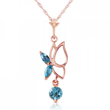 Blue Topaz Butterfly Pendant Necklace 0.18 ctw in 9ct Rose Gold