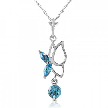 Blue Topaz Butterfly Pendant Necklace 0.18 ctw in 9ct White Gold