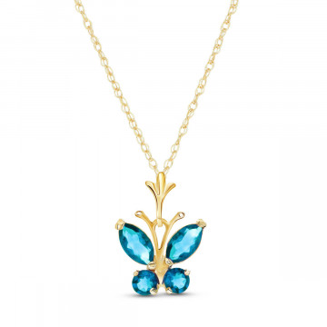 Blue Topaz Butterfly Pendant Necklace 0.6 ctw in 9ct Gold