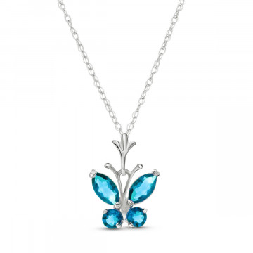 Blue Topaz Butterfly Pendant Necklace 0.6 ctw in 9ct White Gold