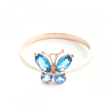 Blue Topaz Butterfly Ring 0.6 ctw in 9ct Rose Gold
