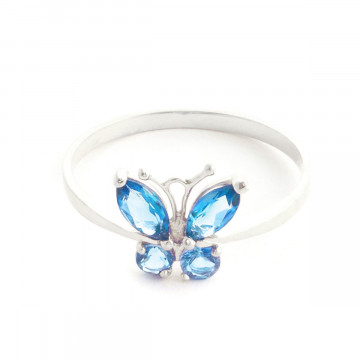 Blue Topaz Butterfly Ring 0.6 ctw in 9ct White Gold