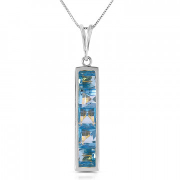 Blue Topaz Channel Set Pendant Necklace 2.25 ctw in 9ct White Gold