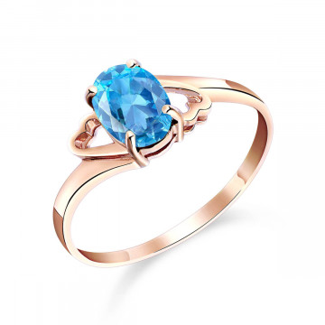Blue Topaz Classic Desire Ring 0.95 ct in 9ct Rose Gold