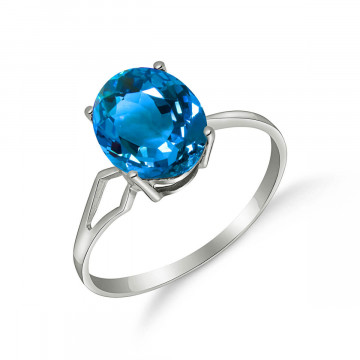 Blue Topaz Claw Set Ring 2.2 ct in 9ct White Gold