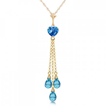 Blue Topaz Comet Tail Pendant Necklace 4.75 ctw in 9ct Gold