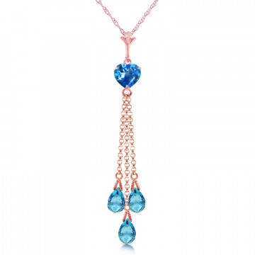 Blue Topaz Comet Tail Pendant Necklace 4.75 ctw in 9ct Rose Gold