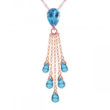 Blue Topaz Comet Tail Pendant Necklace 7.5 ctw in 9ct Rose Gold