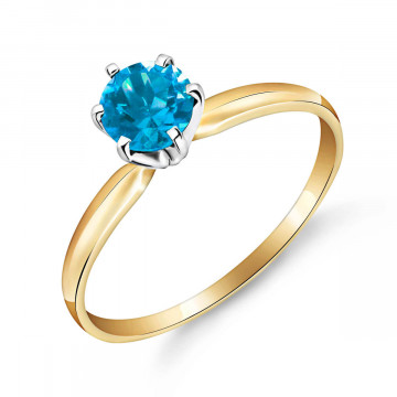 Blue Topaz Crown Solitaire Ring 0.65 ct in 9ct Gold
