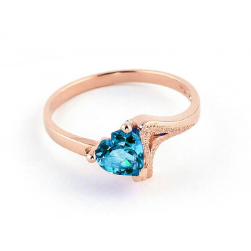 Blue Topaz Devotion Ring 0.95 ct in 9ct Rose Gold