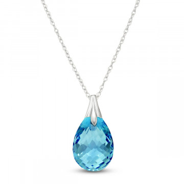 Blue Topaz Dewdrop Pendant Necklace 3 ct in 9ct White Gold