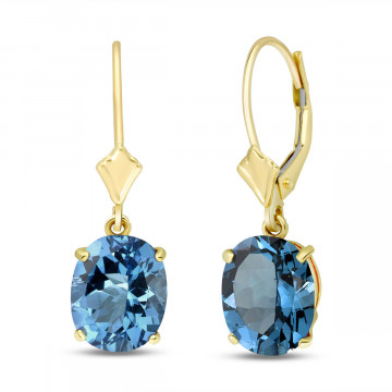 Blue Topaz Drop Earrings 6.25 ctw in 9ct Gold