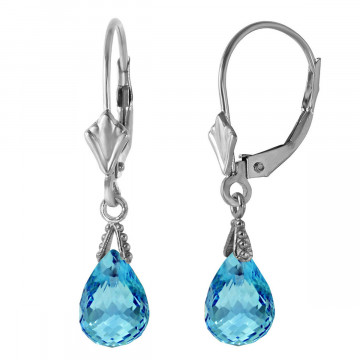 Blue Topaz Droplet Earrings 4.5 ctw in 9ct White Gold