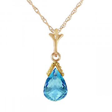 Blue Topaz Droplet Pendant Necklace 2.5 ct in 9ct Gold