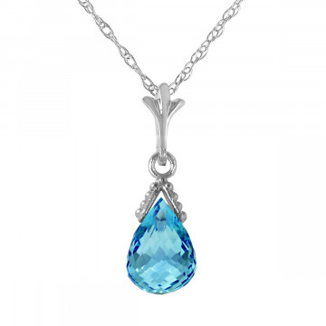 Blue Topaz Droplet Pendant Necklace 2.5 ct in 9ct White Gold