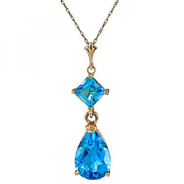 Blue Topaz Droplet Pendant Necklace 2 ctw in 9ct Gold