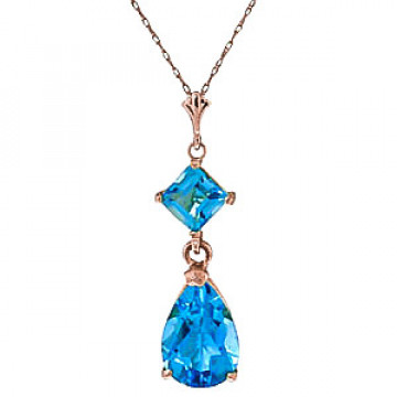 Blue Topaz Droplet Pendant Necklace 2 ctw in 9ct Rose Gold
