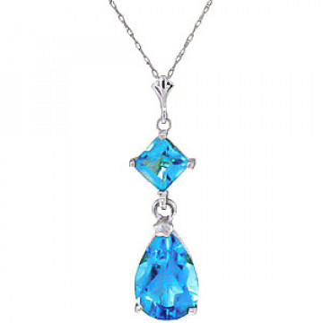 Blue Topaz Droplet Pendant Necklace 2 ctw in 9ct White Gold