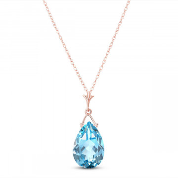 Blue Topaz Droplet Pendant Necklace 5.1 ct in 9ct Rose Gold