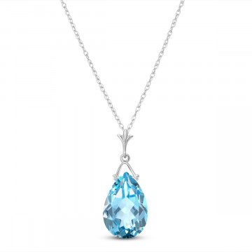 Blue Topaz Droplet Pendant Necklace 5.1 ct in 9ct White Gold