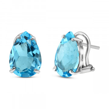 Blue Topaz Droplet Stud Earrings 10 ctw in 9ct White Gold