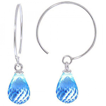 Blue Topaz Eclipse Circle Wire Earrings 1.35 ctw in 9ct White Gold