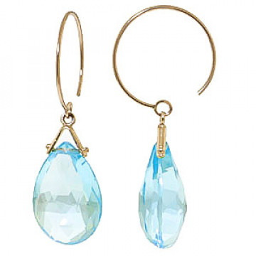 Blue Topaz Eclipse Circle Wire Earrings 10.2 ctw in 9ct Gold