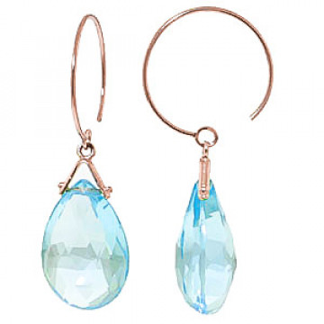 Blue Topaz Eclipse Circle Wire Earrings 10.2 ctw in 9ct Rose Gold