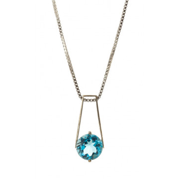Blue Topaz Embrace Pendant Necklace 1.45 ct in 9ct White Gold