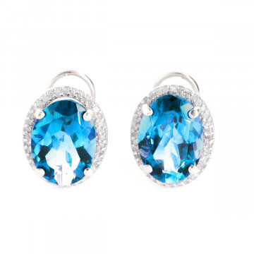Blue Topaz French Clip Halo Earrings 15.16 ctw in 9ct White Gold
