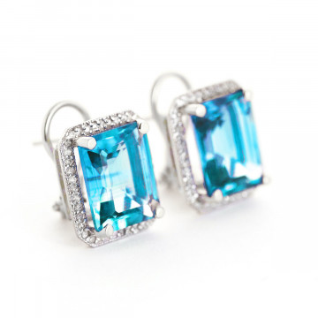 Blue Topaz French Clip Halo Earrings 15.6 ctw in 9ct White Gold