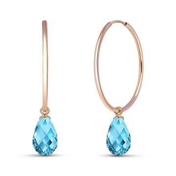 Blue Topaz Halo Earrings 4.5 ctw in 9ct Rose Gold