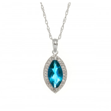 Blue Topaz Halo Pendant Necklace 2.4 ctw in 9ct White Gold