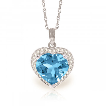 Blue Topaz Halo Pendant Necklace 6.44 ctw in 9ct White Gold
