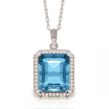 Blue Topaz Halo Pendant Necklace 7.8 ctw in 9ct White Gold